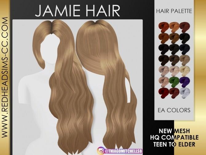 Sims 4 JAMIE HAIR by Thiago Mitchell at REDHEADSIMS