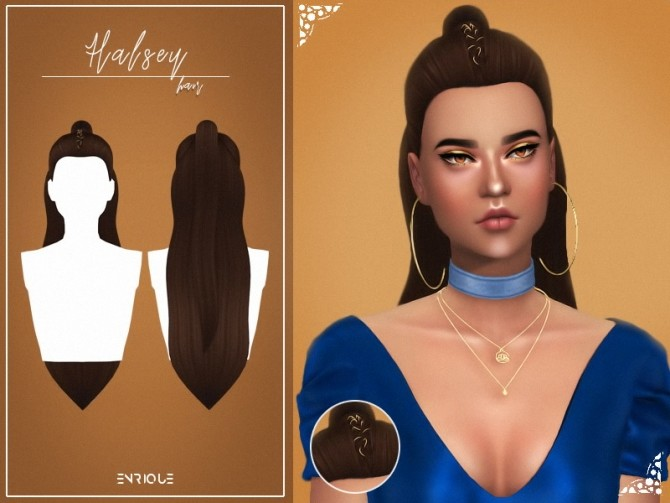 Sims 4 Halsey Hairstyle & Denim Necklace at Enriques4