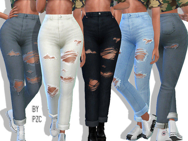 High Waisted Ripped Boyfriend Jeans by Pinkzombiecupcakes at TSR image 2230 Sims 4 Updates