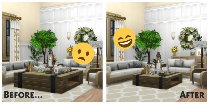 Sims 4 Shrunken Square Coffee Tables Resized for more Usability at Simsational Designs