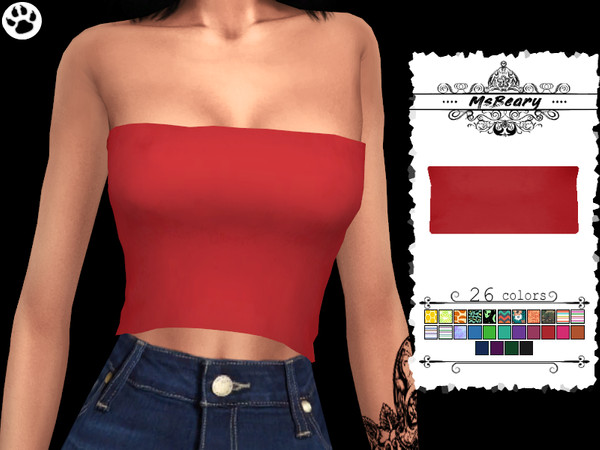 Sims 4 Strapless Tanktop by MsBeary at TSR