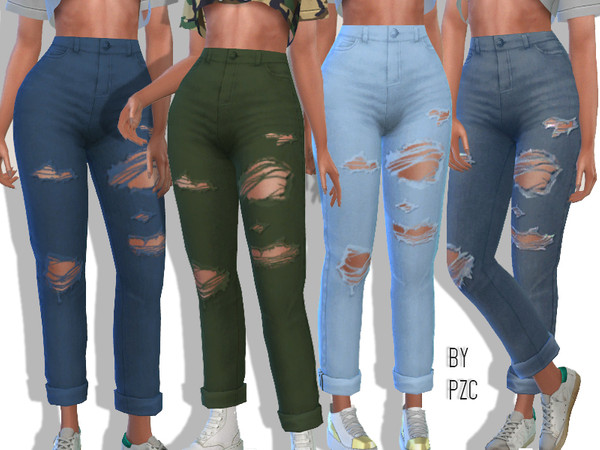 High Waisted Ripped Boyfriend Jeans by Pinkzombiecupcakes at TSR image 2330 Sims 4 Updates