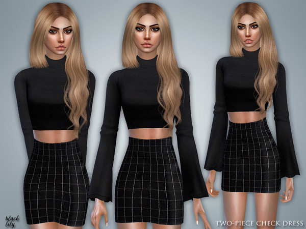 Sims 4 Two Piece Check Dress by Black Lily at TSR