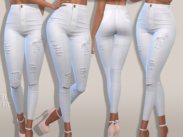 Sims 4 PZC High Waisted White Summer Jeans by Pinkzombiecupcakes at TSR