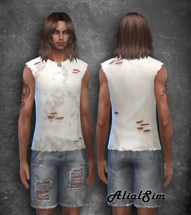 Dirty ripped t shirt and shorts at Alial Sim image 2443 670x754 Sims 4 Updates
