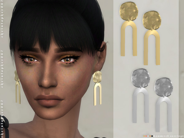 Hammered Earrings by Christopher067 at TSR image 2510 Sims 4 Updates