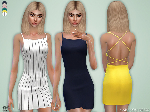 Sims 4 Mary Lou Dress by Black Lily at TSR