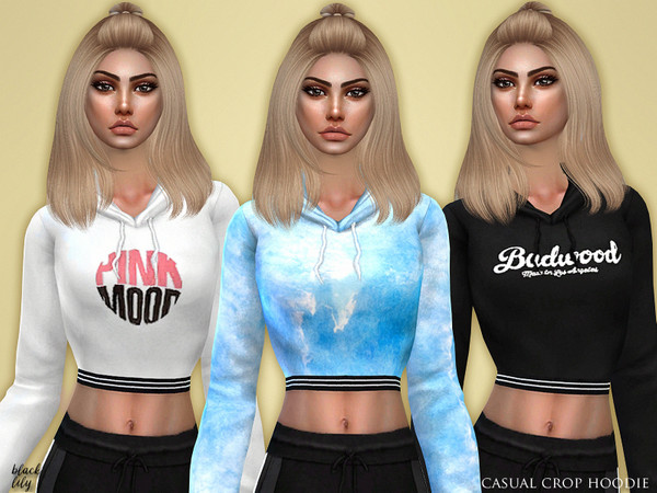 Sims 4 Casual Crop Hoodie by Black Lily at TSR