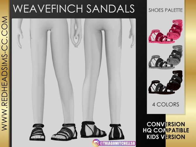 Sims 4 WEAVE FINCH SANDALS KIDS VERSION  by Thiago Mitchell at REDHEADSIMS