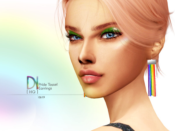 Sims 4 Pride Tassel Earrings by DarkNighTt at TSR