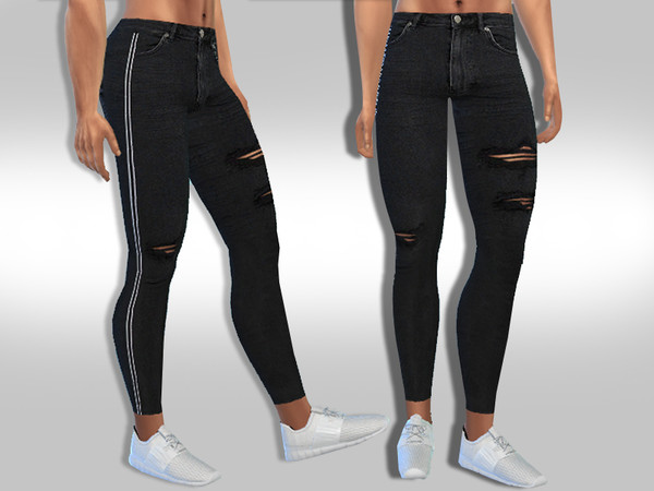Sims 4 Black Ripped Line Jeans by Saliwa at TSR