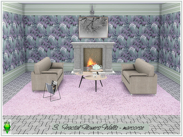 Fractal Flowers Walls by marcorse at TSR image 320 Sims 4 Updates