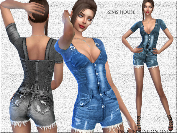 Short denim overalls by Sims House at TSR image 3218 Sims 4 Updates
