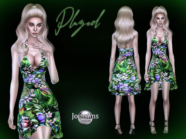 Sims 4 Plazed dress by jomsims at TSR