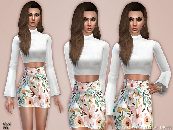 Sims 4 Two Piece Floral Dress by Black Lily at TSR