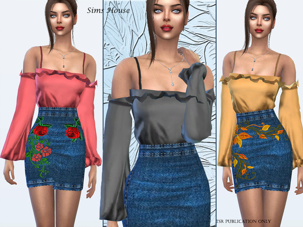 Sims 4 Silk blouse denim skirt by Sims House at TSR