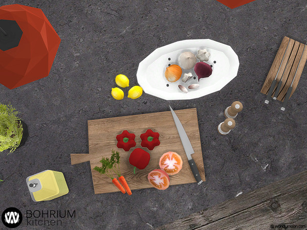Sims 4 Bohrium Kitchen II appliances and decorations by wondymoon at TSR