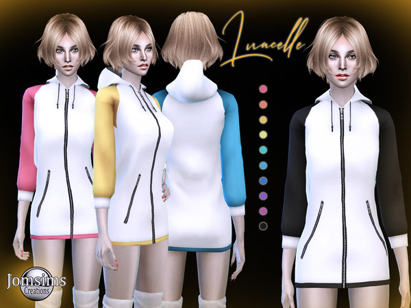 Sims 4 Luacelle hooded dress by jomsims at TSR