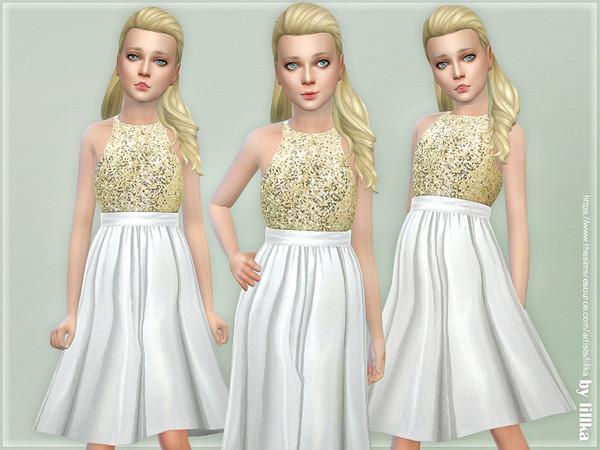 Sims 4 Gold Sequin Dress by lillka at TSR
