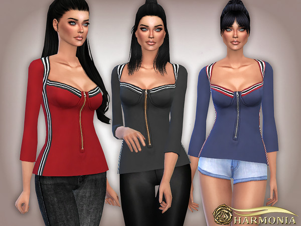 Sims 4 Striped Tape Side Zip Up Top by Harmonia at TSR