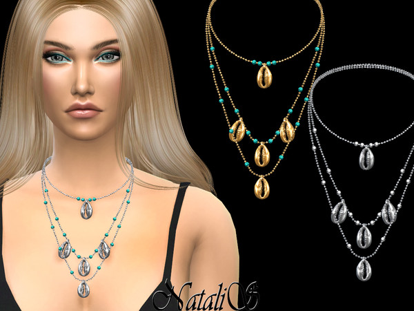 Shell layered necklace by NataliS at TSR image 3612 Sims 4 Updates