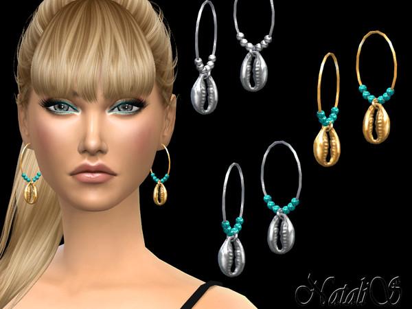 Sims 4 Shell hoop earrings by NataliS at TSR