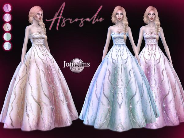 Sims 4 Asrosalie dress by jomsims at TSR