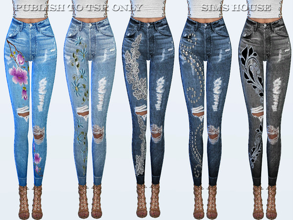 Sims 4 Jeans with embroidery by Sims House at TSR