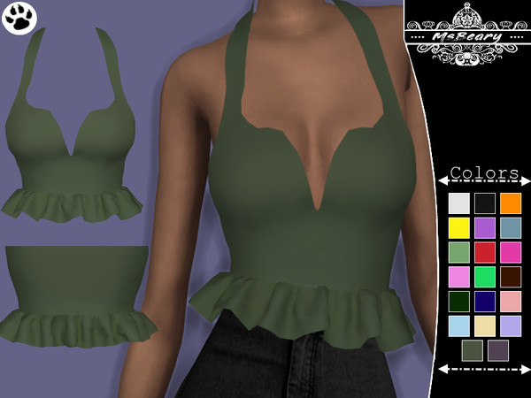 Sims 4 Strapped Ruffle Top by MsBeary at TSR