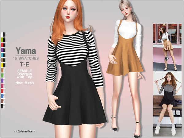 Sims 4 YAMA Overalls with top by Helsoseira at TSR