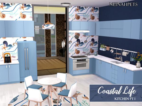 Sims 4 Coastal Life Kitchen Pt I by neinahpets at TSR