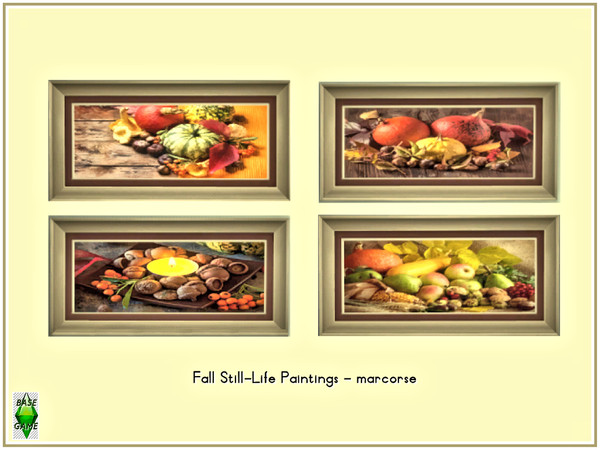 Sims 4 Fall Still Life Paintings by marcorse at TSR