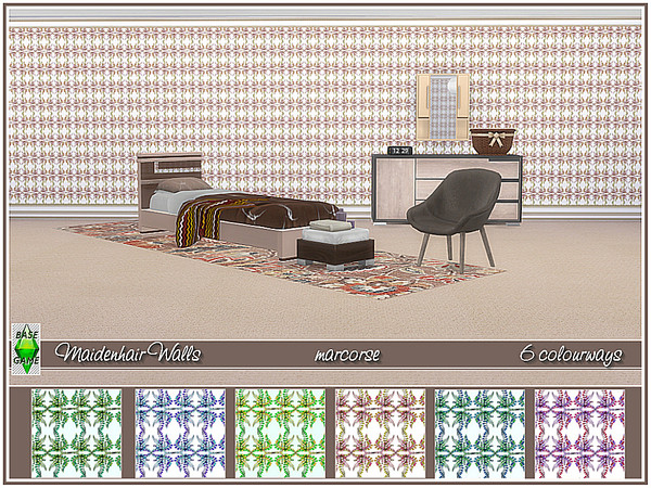 Sims 4 Maiden hair walls by marcorse at TSR