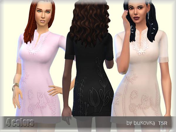 Sims 4 Dress Cotton by bukovka at TSR