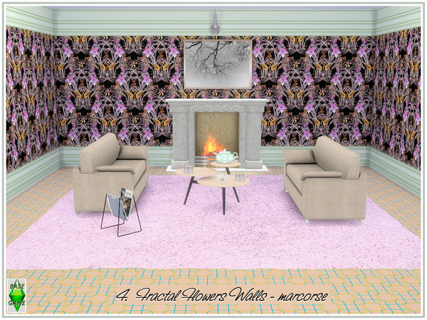 Fractal Flowers Walls by marcorse at TSR image 420 Sims 4 Updates
