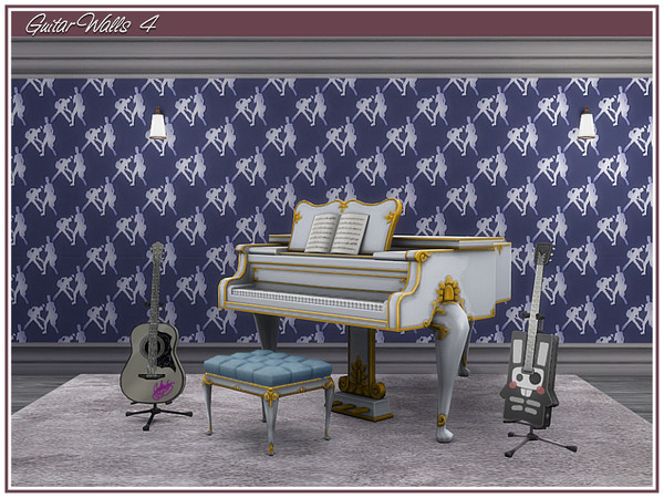 Sims 4 Guitar Walls by marcorse at TSR