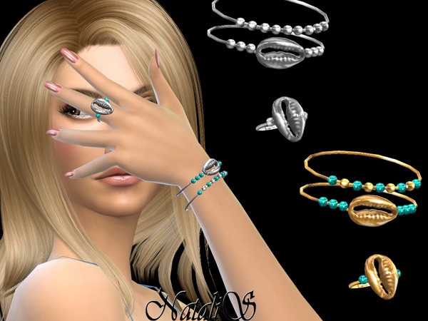 Shell bracelets with ring by NataliS at TSR image 457 Sims 4 Updates