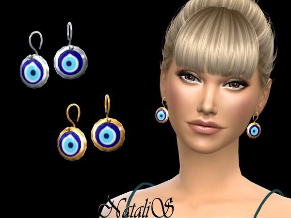 Sims 4 Evil eye drop earrings by NataliS at TSR