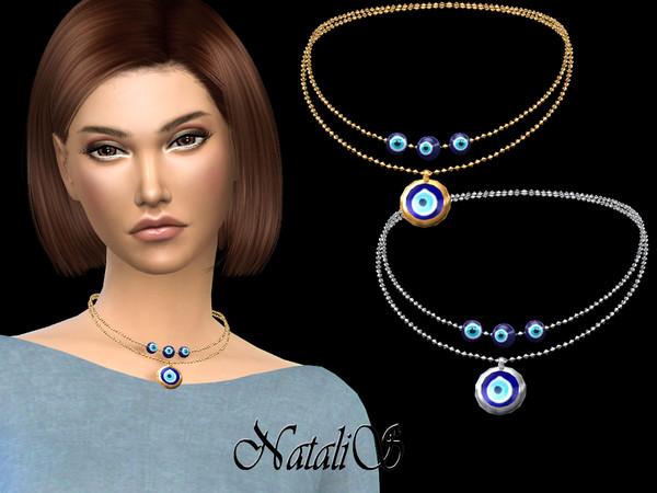 Sims 4 Evil eye short necklace by NataliS at TSR
