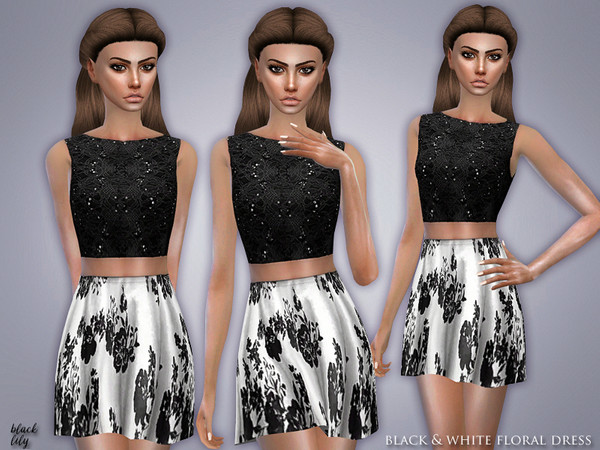 Sims 4 Black & White Floral Dress by Black Lily at TSR