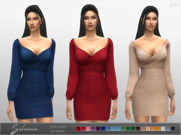 Sims 4 Silvana Dress by Sifix at TSR