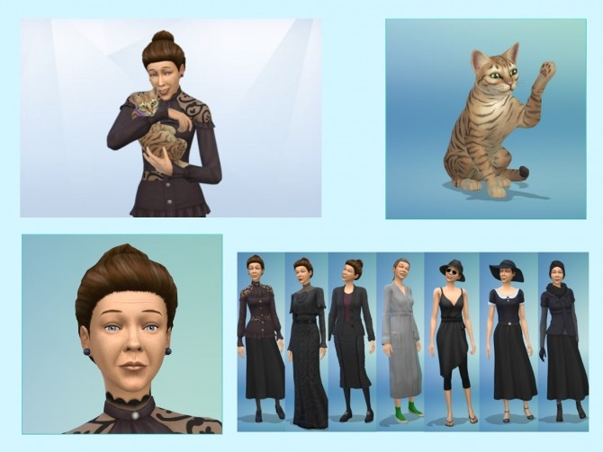 Sims 4 Miss Hartnell and her cat at KyriaT's Sims 4 World