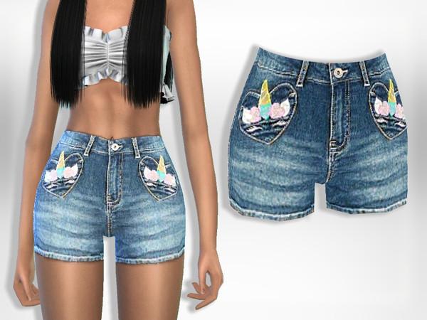 Sims 4 Unicorn Denim Shorts by Puresim at TSR