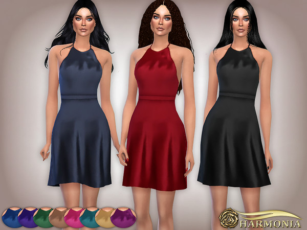 Sims 4 Glossy Satin Halter Nightgown by Harmonia at TSR