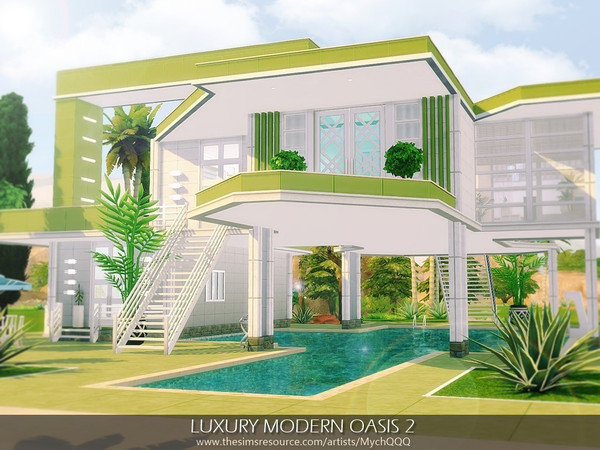 Sims 4 Luxury Modern Oasis 2 by MychQQQ at TSR