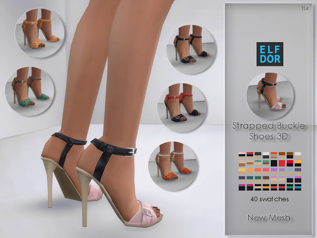 Sims 4 Strapped Buckle High Heels at Elfdor Sims