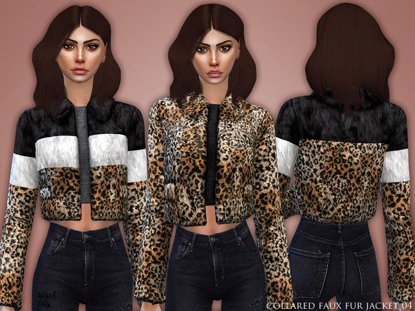Sims 4 Collared Faux Fur Jacket 04 by Black Lily at TSR