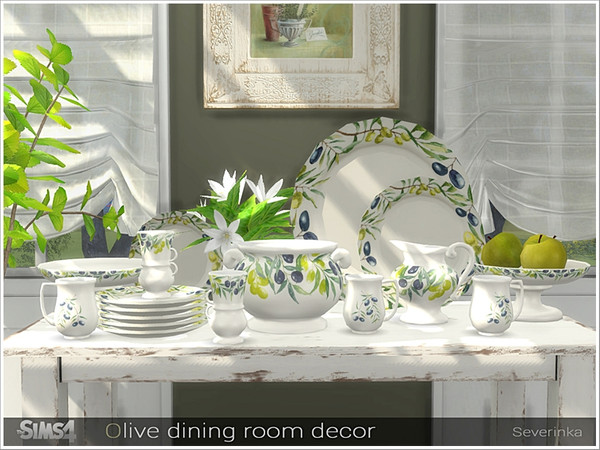 Olive dining decor by Severinka at TSR image 6713 Sims 4 Updates