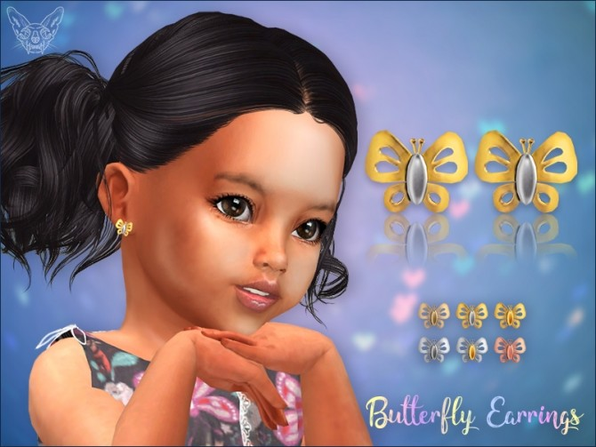 Sims 4 Golden Butterfly Stud Earrings For Toddlers at Giulietta
