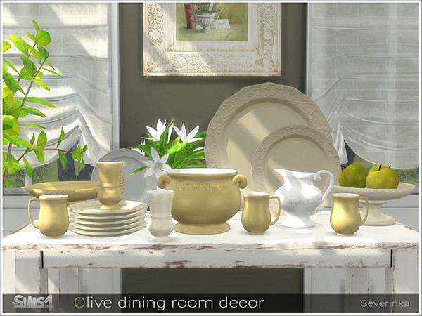 Olive dining decor by Severinka at TSR image 6813 Sims 4 Updates